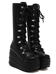 Damen-Stiefel-Lässig-PU-Plateau-Modische Stiefel-Schwarz Weiß
