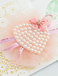 Korean Flower Girl's Heart Pearl Bow Fabric Hair Clip