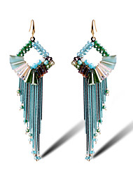 TIANSHE Women'S  Bohemia long Tassel Earrings Handmade Alloy 1 pair