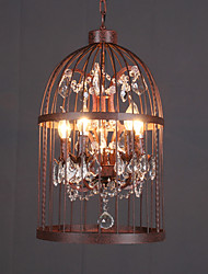 Loft Retro Amercian Industrial Crystal Birdcage Pendant Lamp for the Kids Room / Study Room Chandelier Light