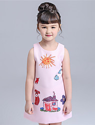 KIMOCAT Girl's Casual/Daily Print Dress,Cotton Fall Pink / White