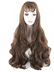Long Fashion Wigs Dark Brown Gothic Lolita Heat Resistant Fiber Wavy Women Hairs wig