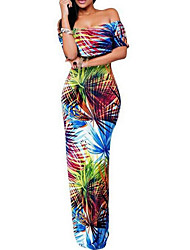 Women's Party/Cocktail Boho Layered Backless Beach Slim Sexy Sheath Dress,Color Block Boat Neck Maxi Short Sleeve