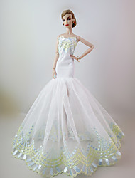 Festa e Noite Vestidos Para Barbie Doll Branco Rendas Vestidos