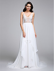 LAN TING BRIDE A-line Wedding Dress See-Through Court Train V-neck Chiffon with Appliques