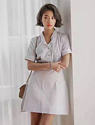 Boutique S Going out Simple Sheath DressStriped Stand Above Knee Short Sleeve White Cotton Summer