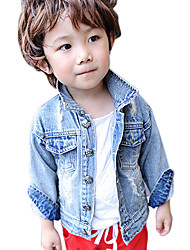 Boy's Cotton Spring/Autumn Fashion Cartoon Print Cowboy Outerwear Long Sleeve Denim Jacket Sport Coat