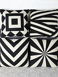 Set Of 4 Geometric Cotton/Linen Pillow Cover