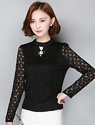 Women's Casual/Daily Street chic Spring / Fall T-shirt,Solid Crew Neck Long Sleeve Polyester Medium