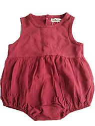 Для девочек Ткань средней плотности Неэластичная Для девочек Комбинезон,Без рукавов,Хлопок,Лето