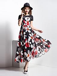BORME® Women's Round Neck Short Sleeve Bohemia Floral Print Maxi Dress-Z116COR