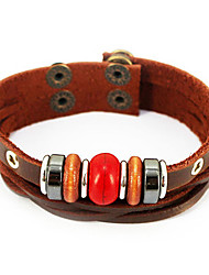 Leather Bracelets 1pc,Brown Bracelet Vintage Round Leather Jewellery
