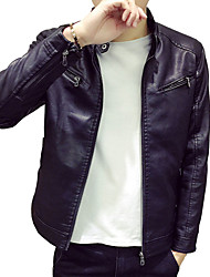In the spring of 2016, PU leather strap pocket men's leather jacket on the Korean youth tide men's clothes