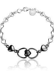 2016 Double Heart 925 Sterling Silver Black Luxury Specially Bracelets For Women