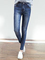 Mulheres Calças Moda de Rua Jeans Linho Sem Elasticidade Mulheres
