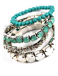 Women Alloy Silver Pearl  Strand Bracelets