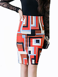 Women's Print Orange Skirts,Street chic Knee-length