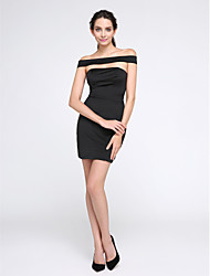 TS Couture Cocktail Party Prom Dress - Little Black Dress Sheath / Column Off-the-shoulder Short / Mini Jersey with Pleats