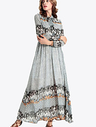 Women's Casual/Daily Vintage Swing Dress,Print Stand Maxi Long Sleeve Gray Polyester Fall / Winter