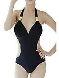 Women's Halter Sell Well Monokini,Plus Size,Lace Up / Cutout / Retro / Solid / Sport Polyester White / Black