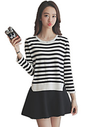 Women's Round Collar Casual/Daily Striped Stitching Pullover Sweater / Knitwear