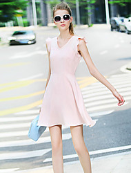 Women's Casual/Daily Cute A Line Dress,Solid V Neck Above Knee Sleeveless Pink Cotton / Polyester Summer