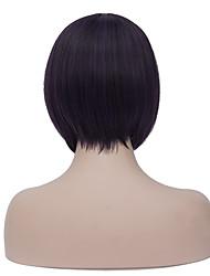 Европейский стиль стильный боб короткий Sythetic фиолетовый черный прямой парик партии аккуратный удар для женщин
