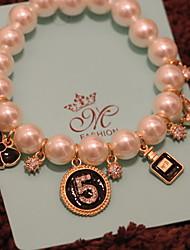 Strand Bracelets 1pc,White Bracelet Fashionable Round Rhinestone Jewellery