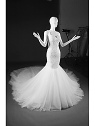 Mermaid / Trumpet V-neck Cathedral Train Tulle Wedding Dress with Beading Appliques by DRRS
