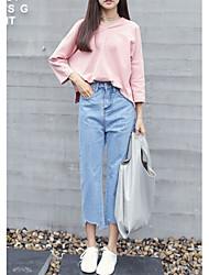 Women's Solid Blue Jeans / Loose / Wide Leg Pants,Simple