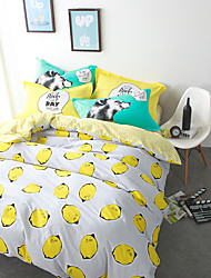 Lemon brief style 4piece bedding sets print duvet cover Sets 100% Cotton Bedding Set Queen Size