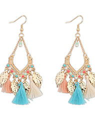Bohemian Fashion Jewelry 2016 Gold Plated Leaves Tassel Earrings For Women Statement Long Earring Gifts
