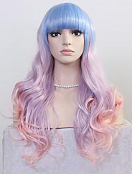 moda perucas longa onda europeus e americanos Bule roxo-de-rosa de três tons de cor ombre mulheres perucas sintéticas
