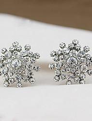 Brincos Curtos Moda Casamento Jóias de Luxo imitação de diamante Liga Forma Geométrica Floco de Neve Prata Jóias ParaCasamento Diário