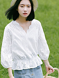 Women's Casual/Daily Simple Fall Blouse,Solid Round Neck Long Sleeve White Cotton Medium