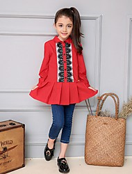 Girl's Casual/Daily Solid Shirt,Cotton Winter / Fall Red