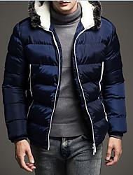 Men's Regular Padded Coat,Polyester / Nylon Patchwork Long Sleeve