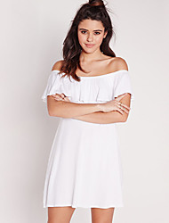 Women's Casual/Daily Simple Sheath Dress,Solid Boat Neck Above Knee Short Sleeve White Cotton Summer