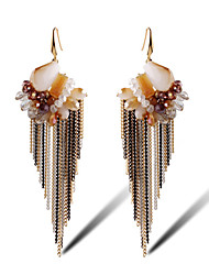 Earring Flower Jewelry Women Tassels Daily Alloy / Gold Plated / Glass 1 pair Brown