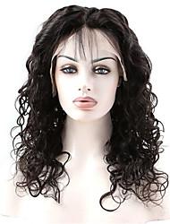 100% cabelo virgem humana 10-26 polegadas natural, preto naturais peruca frente de onda solta com cabelo do bebê