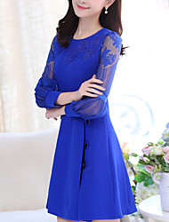 Casual/Daily / Formal Simple Sheath Dress,Solid / Embroidered Round Neck Above Knee Long Sleeve Blue / Red / Black
