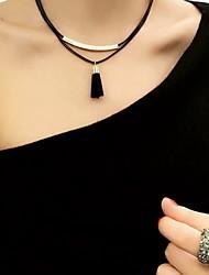 Femme Collier court /Ras-du-cou Collier multi rangs Alliage Mode Bohême Personnalisé Couche double Noir Bijoux Pour Quotidien Décontracté