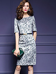 Women's Casual/Daily / Plus Size Simple Sheath Dress,Floral Round Neck Above Knee ½ Length Sleeve Gray Others Spring / Fall