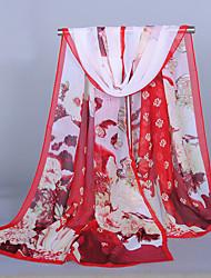 Women's Chiffon Flowers Print Scarf Red/Purple/Yellow/Pink/Blue/Fuchsia