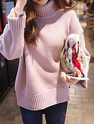 Normal Pullover Femme Décontracté / Quotidien simple,Couleur Pleine Bleu / Rose / Gris Col Roulé Manches Longues Coton Printemps Epais