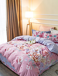 Pink 800TC bedding sets Queen King size Bedlinen printing sheets pillowcases Duvet cover sanding Cotton