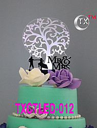 LEDCake Topper Non-personalized Classic Couple Acrylic Wedding Flowers Black Classic Theme 1 Gift Box