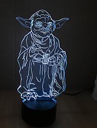Yoda érintse fényerő 3d led éjszakai fény 7colorful dekoráció hangulat lámpa újdonság világítás karácsonyi fény