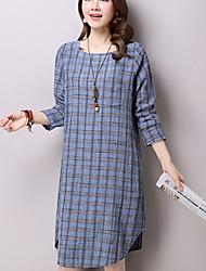 Women's Casual/Daily Street chic Loose Thin Dress,Check Knee-length / Asymmetrical Long Sleeve Cotton / Linen