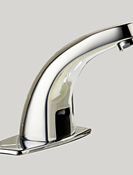 Contemporain Set de centre Tactile/non tactile with  Valve en laiton Mains libres un trou for  Chrome , Robinet lavabo